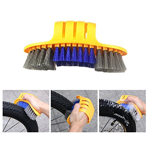 Bike Cleaning Tool Set, 6Pieces Precision Bicycle Cleaning Tool Tarpered Detail Brush Wheel Brush Scraper Bike clean mitt Tire Scrubber Multipurpose Practical and portable for Mountain,BMX Bike by Multi Outools (Image #2)
