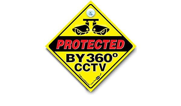 Suction Cup Sign Protected by 360 Degree CCTV Sign Vehicle Home Security Sign