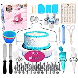 Shpebs UPDATED Cake Decorating Supplies | 100 Pcs Cake Decorating Kit Baking Supplies Set | Rotating Cake Turntable Stand | Icing Piping Tips & Bags | Smoother & Spatulas, Frosting & Pastry Tools. 1 🍪 EXQUISITE BAKING & PASTRY MASTERPIECES! You don't need a white chef's jacket to create divine, decadent, and undeniably delectable cakes, cupcakes, cookies, and other delicious desserts & baked goods. Go all-out with this ultimate kitchen set! Perfect as a Gift for all ages 🍰 ALL-IN-ONE BAKING KIT - Set Includes: | Nonslip Rotating Turntable Stand | 48 Piping Tips | 5 Russian tips | Smoother | Cake Pen |Cleaning Brush | Cake Cutter | Piping Bags | 2x Tip Coupler | Flower Lifter | 2x Flower Nails | 2x Spatula | 3x Cake Scrapers | 2x Silicone Piping Bags | 25x Disposable Pastry Bags | Icing Design Chart. 🍪 FUN FOR ALL AGES AND SKILL LEVELS - This all in one kit is great for beginners or experienced cake designers. You supply the ingredients and we supply all the tools you will need to inspire your creativity. If you enjoy baking decorating, the possibilities are endless with this complete set! All tools & accessories are 100% dishwasher safe.