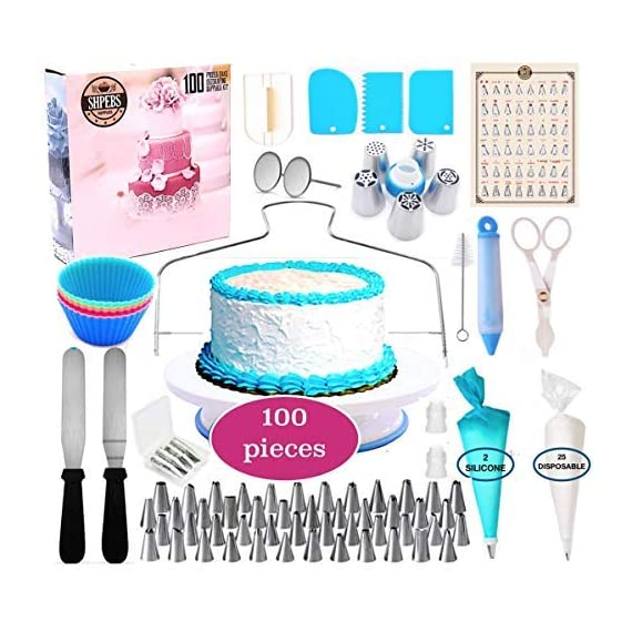Cake Decorating Supplies, cake decorating kit for Beginners, Baking Pastry Tools, Numbered Icing Tips with Pattern Chart… 1 🍪 EXQUISITE CAKE DECORATING SET & PASTRY MASTERPIECES! You don't need a white chef's jacket to create divine, decadent, and undeniably delectable cakes, cupcakes, cookies, and other delicious desserts & baked goods. Go all-out with this ultimate kitchen set! Perfect as a Gift for all ages 🍰 ALL-IN-ONE BAKING SET - Set Includes: | Nonslip Rotating Turntable Stand | 48 Piping Tips | 5 Russian tips | Smoother | Cake Pen |Cleaning Brush | Cake Cutter | Piping Bags | 2x Tip Coupler | Flower Lifter | 2x Flower Nails | 2x Spatula | 3x Cake Scrapers | 2x Silicone Piping Bags | 25x Disposable Pastry Bags | Icing Design Chart. 🍪 FUN FOR ALL AGES AND SKILL LEVELS - This all in one kit is great for beginners or experienced cake designers. You supply the ingredients and we supply all the tools you will need to inspire your creativity. If you enjoy baking decorating, the possibilities are endless with this complete set! All tools & accessories are 100% dishwasher safe.