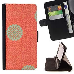 For Samsung Galaxy S4 Mini i9190 (NOT S4) Case , Modelo del papel pintado de naranja Teal- la tarjeta de Crédito Slots PU Funda de cuero Monedero caso cubierta de piel