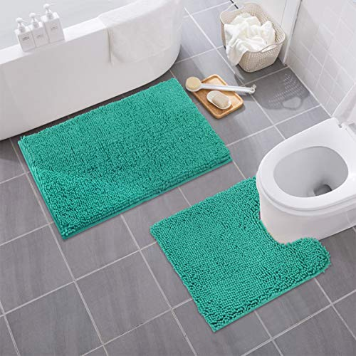 MAYSHINE Bathroom Rug Toilet Sets and Shaggy Non Slip Machine Washable Soft Microfiber Bath Contour Mat (Turquoise, 32x20 / 20x20 Inches U-Shaped) (Aqua Washer And Dryer)