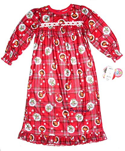 Explorer Nightgown - Dora the Explorer ~Snowflakes Holiday Flannel Gown~ Girls 6