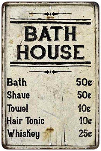 Bath House Price List Vintage Look Chic Distressed 8x12 Metal (Bath House Sign)