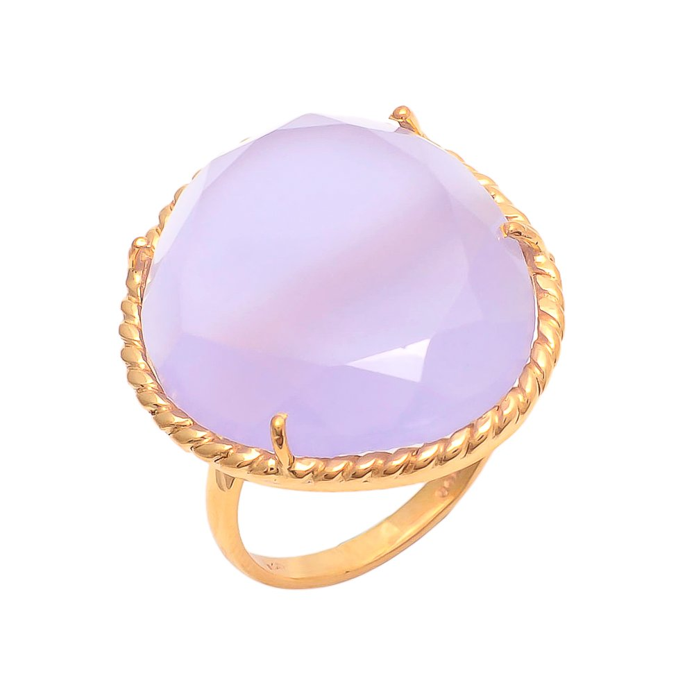 Lavander Chalcedony Free Form Checker Cut 925 Sterling Silver Gold Plated Prong Ring