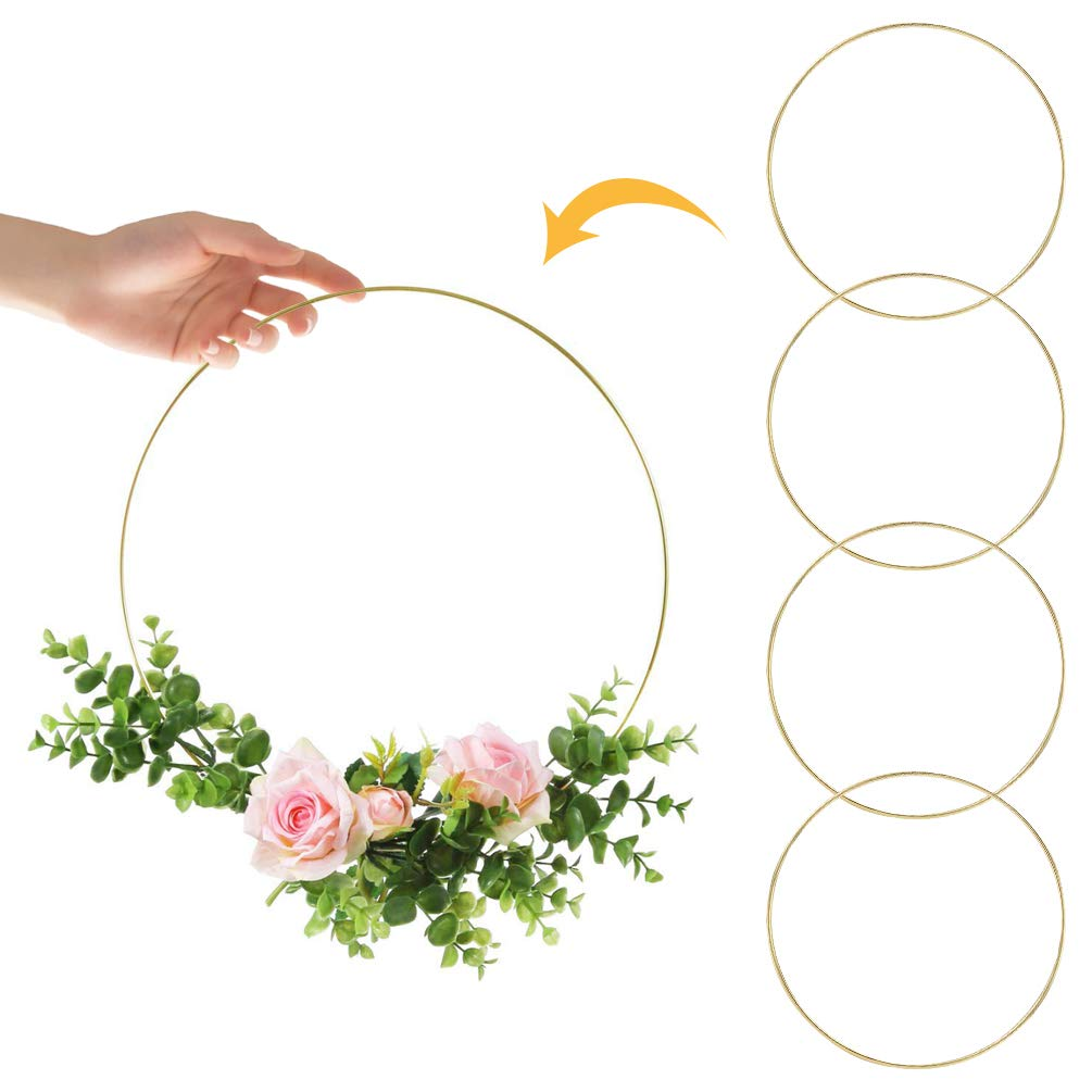 Macrame Floral Hoops Wreath/Rings for Dream Catcher//DIY Craft//Home Decor//Wedding 12 Inch +14 Inch 4 Pack Gold Metal Hoop