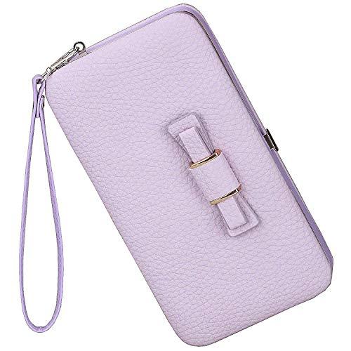 Litchi Prints Phone Wallet Case for Women Bow Leather Long Clutch Wallet Purse for 6 inch Cellphone Coin Card Pocket Wristlet Handbag (Light Purple)