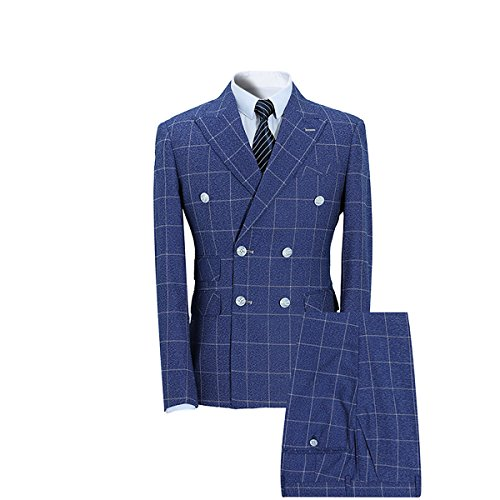 YFFUSHI Mens Plaid 3 Piece Suits Double Breasted Retro Slim - Style Blues Brothers Suit