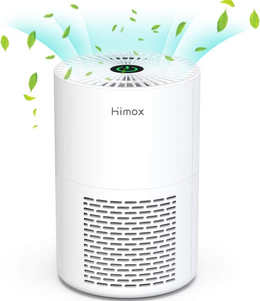 HIMOX Purificador Aire Filtro Hepa, Cable USB, Purificadores de Escritorio Portátiles Purificador de Aire de Sobremesa, para Polvo, Alergias, Humo, Caspa de Mascotas, Polen, Olores