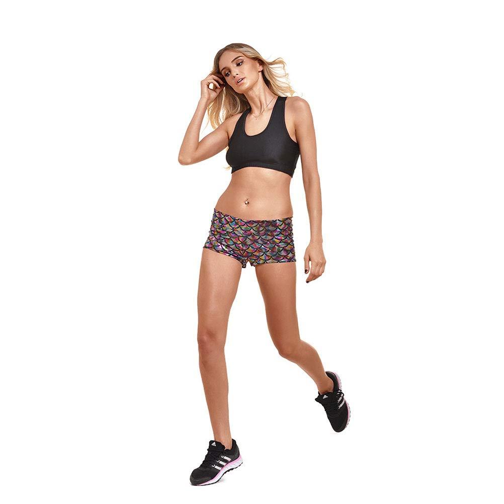 Color/é LIOOBO Pantalon Chaud imprim/é en /écaille de Poisson Short /élastique d/écontract/é Shorts d/ét/é r/éfl/échissants et /él/égants pour Yoga Fitness Taille L