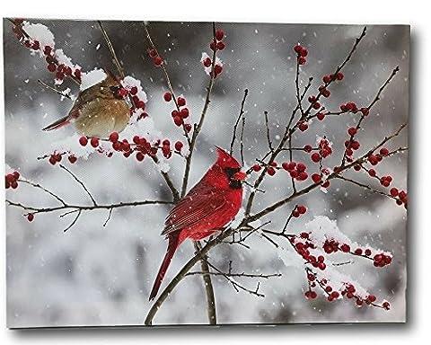 Cardinal Canvas Print - LED Lighted Print with Cardinals and Berries - Winter Scene Artwork - Cardinal - Louis Cardinals Fiber