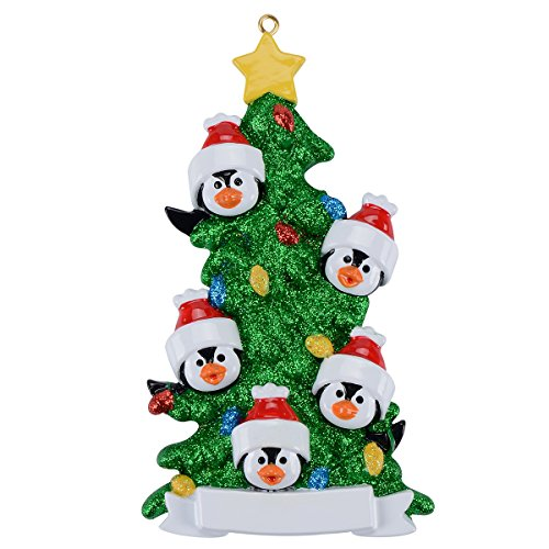 Family of 5 Green Christmas Tree for Personalization Christmas Presents For The Family