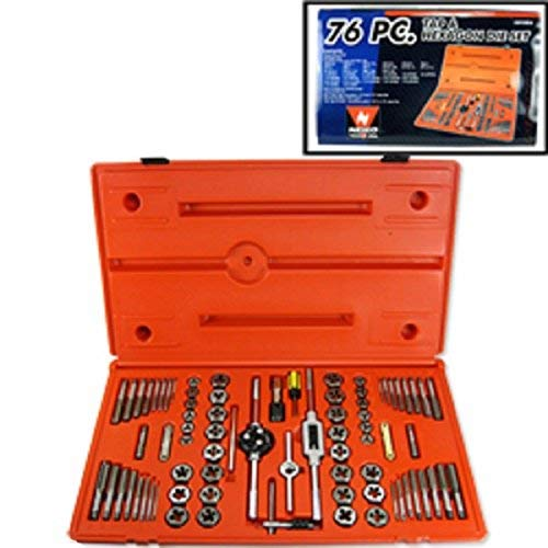 - 76 Pc Steel Metal Sae+metric Mm Bolt Nut Tap And Die Threading Tool Threader Set