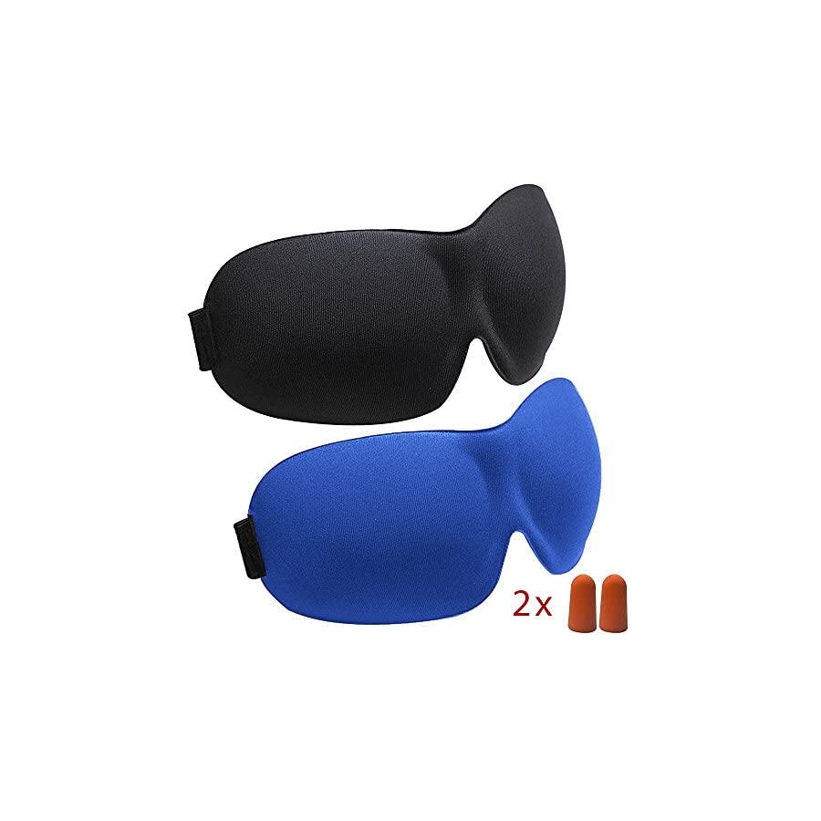 aDreamSleep Sleep Mask by (2 Pieces) Contoured & Comfortable Eye Mask With Moldex Ear Plug (2 Sets). Great for Travel, Shift Work & Meditation (Black & Blue)