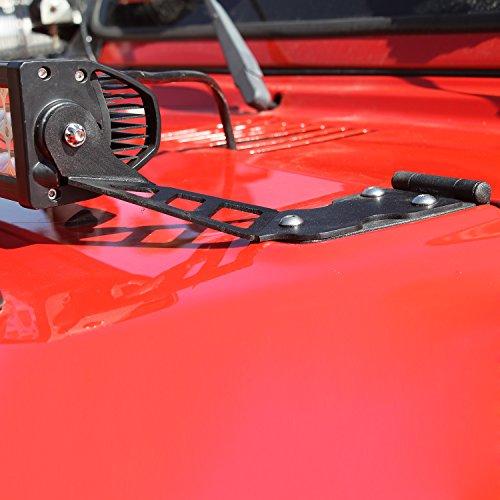 E-Autogrilles 97-06 Jeep Wrangler TJ Hood Black 20 LED Bar Mounting Brackets- Pair (51-0468)