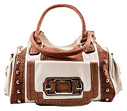 Designer Inspired Two Tone, Satchel Style Handbag with Faux Croc Accents (Brick Red / Chocolate)