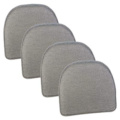 Klear Vu Herringbone Essentials Non-Slip Dining Kitchen Chair Pad, Set of 4, Charcoal