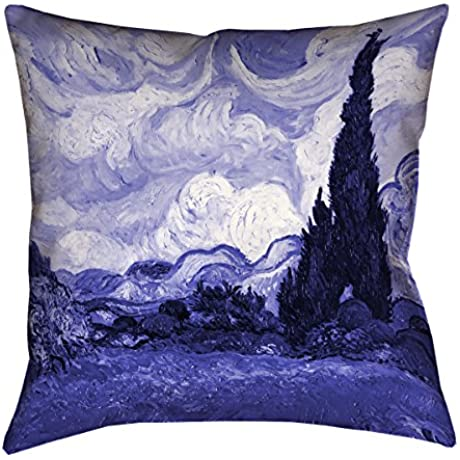 ArtVerse Vincent Van Gogh Blue Wheatfield With Cypresses X Floor Pillows Double Sided Print With Concealed Zipper Insert 36 X 36