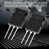 2SA1943 2SC5200 High Power Matched Audio Transistor Silicon Precision 5 Pair 10Pcs Replacement Black