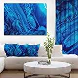 Dark Blue Abstract Acrylic Paint Mix Abstract Art on Canvas
