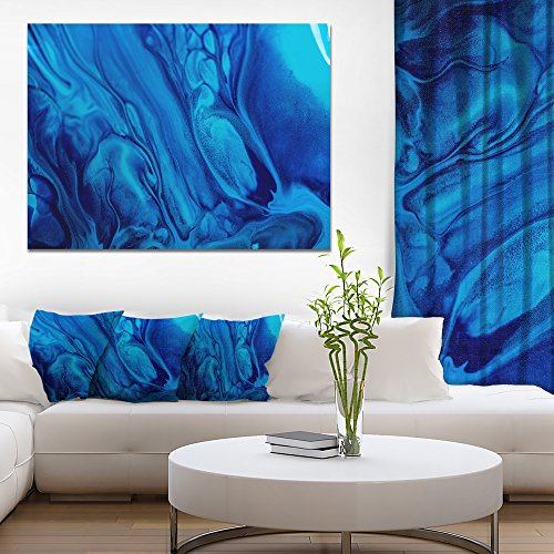 Dark Blue Abstract Acrylic Paint Mix Abstract Art on Canvas by Design Art
