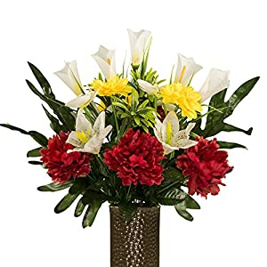 Red Peony and Yellow Dahlias with Lilies, featuring the Stay-In-The-Vase Design(C) Flower Holder (SM1984) 57
