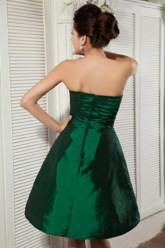 knielangen Abendkleid BRIDE Satin dunkelgruenen Grün Elegant GEORGE U4qPpw