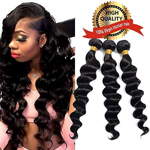(Brazilian Virgin Hair Loose Wave Bundles 8A 100% Unprocessed Remy Brazilian Loose Wave Human Hair Weave Bundles Natural Black(16 18 20))