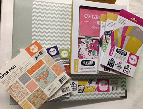 We R Memory Keepers Super Bundle with 8 items: Bloom 12x12 3-Ring Album, Captured Journaling Cards, Jet Set, Storytime and Feelin' Groovy 6x6 Paper Pad, Bloom and Captured Double-Sided Cardstock Cards, and Captured Die-Cuts Cards & Envelopes