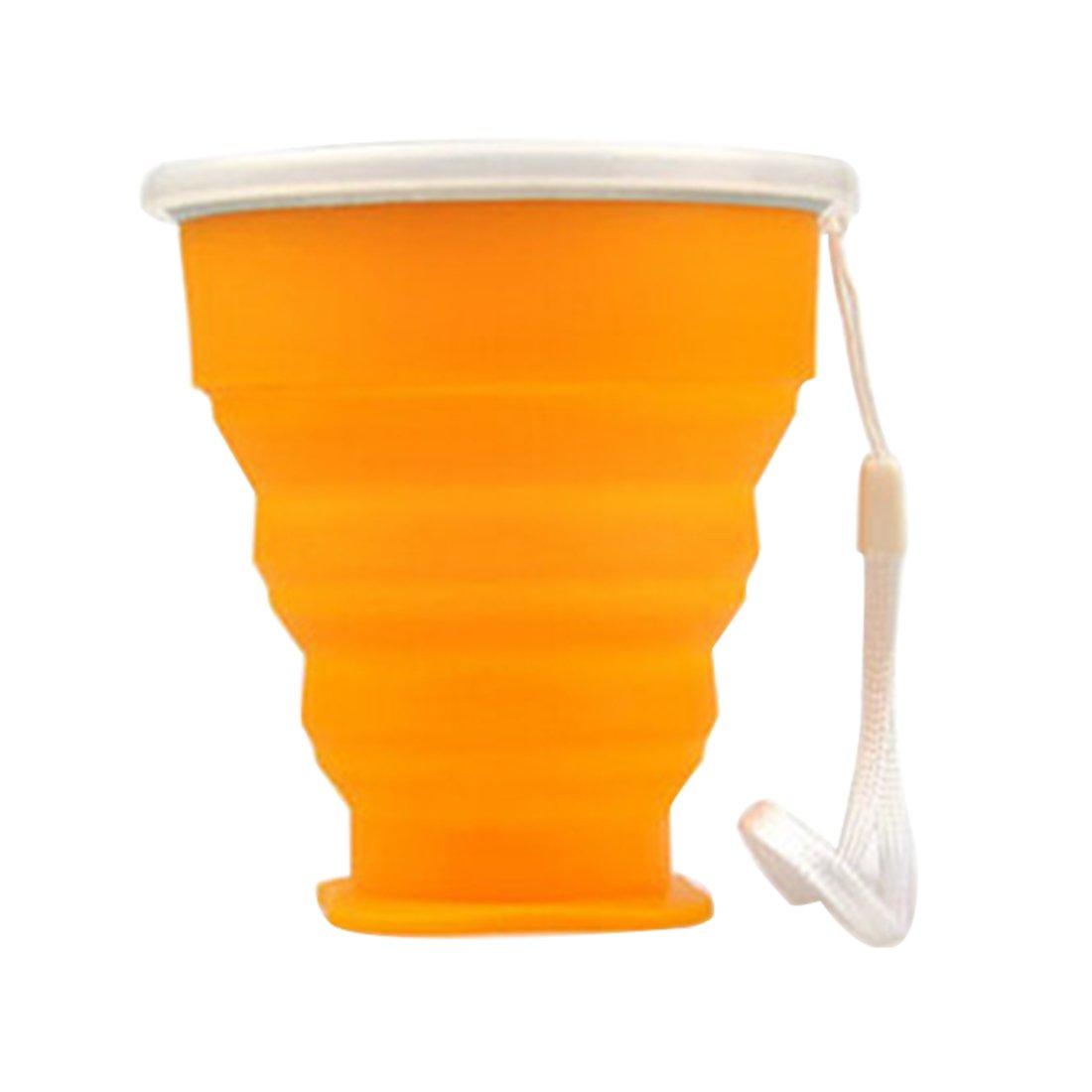 naranja. retr/áctil Vaso plegable de silicona con cuerda telesc/ópico 200/ml