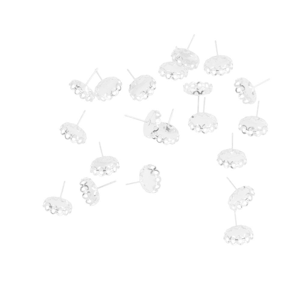 Sharplace 100 x Rund Ohrstecker Rohlinge Fassungen f/ür 12mm Cabochons Ohrring Basteln