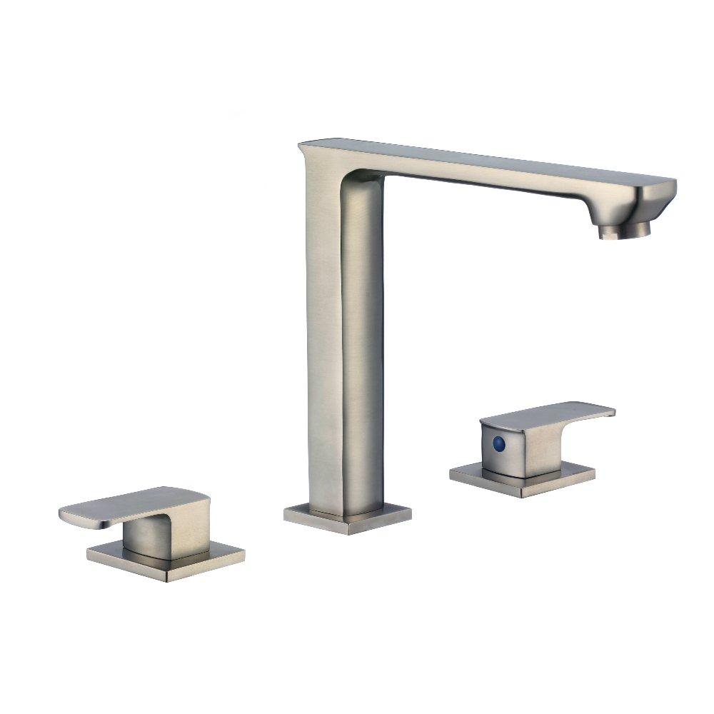 KDK Modern Lavatory Bathroom Vanity Sink Faucet with Two Handles Brushed Nickel (Brushed Nickel-18)