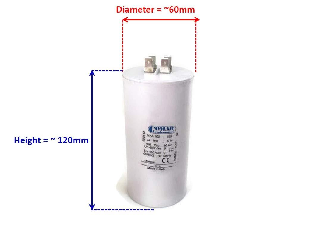 Made in ITALY Motor Electrolytic Comar CONDENSER CAPACITOR MKA 31.5uF 30UF ~ 31.5UF ~ 33UF 31uF 32uF 450V Vac