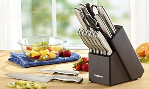 Farberware 5152497 Stamped 15-Piece High-Carbon Stainless Steel Knife Block Set, Steak Knives 6 <p>Farberware is the #1 selling cutlery brand in the U.S. (Source: The NPD Group, Inc./Retail Tracking Service. 52 weeks ending March 2016). This 15-piece set includes an 8-inch chef knife, 8-inch bread knife, 8-inch slicer, 7-inch Santoku, 5-1/2-inch serrated utility knife, 3-1/2-inch paring knife, a pair of shears, a sharpening steel and six 4-1/2-inch long steak knives. All knives feature high-carbon stainless steel blades which ensure the blades retain their ultra-sharp edge longer than conventional stainless steel. Each knife features an ergonomic brushed steel handle for greater durability. Not dishwasher safe. Hand wash with warm water and a mild detergent; rinse and dry immediately. 15 PIECE KNIFE BLOCK SET: This set includes an 8 inch chef's knife, 8 inch bread knife, 8 inch slicer knife, 7 inch Santoku, 5.5 inch serrated utility knife, 3.5 inch paring knife ALSO INCLUDES: This set also includes (6) 4.5 inch steak knives, a pair of all purpose kitchen scissors, a sharpening rod, and a black wood storage block HIGH QUALITY BLADE: Each blade is expertly crafted from superior quality, high carbon stainless steel which ensure the blades retain their ultra sharp edge longer than conventional stainless steel and provide precision results COMFORT GRIP: Featuring a satin finish, the handles are crafted from stainless steel and are ergonomically designed for a comfortable grip; each knife is perfectly balanced for precision while cutting EASY CARE: Hand wash with warm water and a mild detergent; rinse and dry immediately; lifetime limited warranty Farberware is the #1 selling cutlery brand in the U.S. (Source: The NPD Group)</p>