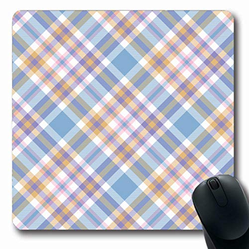 Ahawoso Mousepads Table Blue Pale Tartan Plaid Pattern Checkered Gingham Check Green All Over Border Country Diagonal Oblong Shape 7.9 x 9.5 Inches Non-Slip Gaming Mouse Pad Rubber Oblong Mat