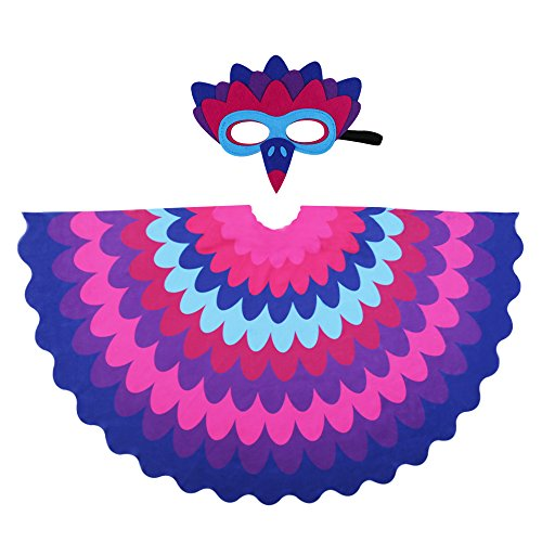 D.Q.Z Kids Bird Wings for Girl Boy Parrot Costume and Dress-Up Mask (Purple) ()