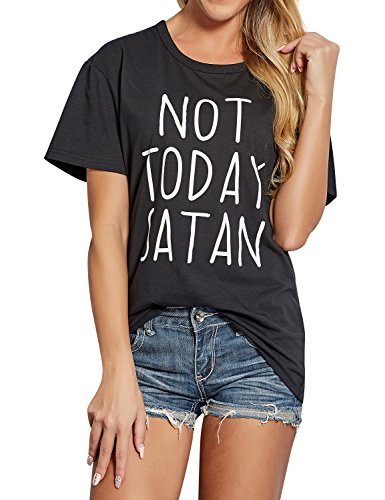 ZXZY Women Cotton Short Sleeves Not Today Satan Letter Print T Shirt Blouse Top