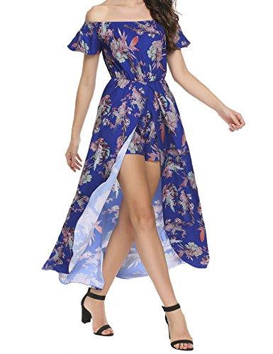 SE MIU Women Off Shoulder Multicolor Print High Low Romper Dress Jumpsuit