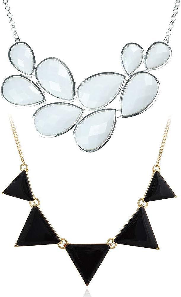 JANE STONE Bubble Bib Necklace Bundle with Triangle Statement Necklace