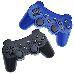 FSC Pack of 2 Mixed colors PS3 Wireless Remote Controller GamePad for use with PlayStation 3 (Black/Blue)