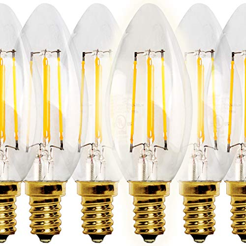 NITOR Lighting LED Candelabra Bulb, 4 Watt E12 Filament Candle Light bulbs, Dimmable 40W Incandescent Replacement, Chandelier Lights, E12 Screw Base, 2700K Warm White (6 Pack)