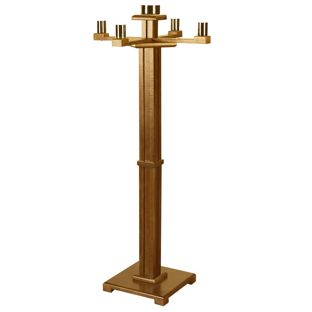 Maple Hardwood Church Sized Standing Advent Candlestick Holder in Pecan Stain Robert Smith 61488NB