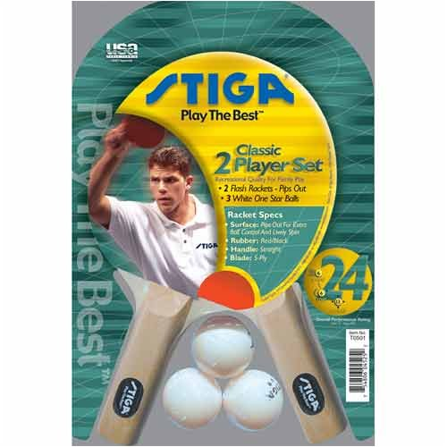 Stiga 2 Player Table Tennis Racket Set (Pips Out)   B000F8GC36