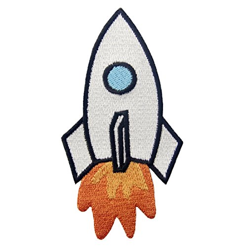 Rocket Applique (Rocket Embroidered Space Shuttle Applique Iron On Sew On Patch)
