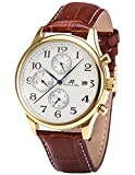 KS Imperial Men's Automatic Mechanical Watch Date Day Month Display Brown Leather Strap KS155