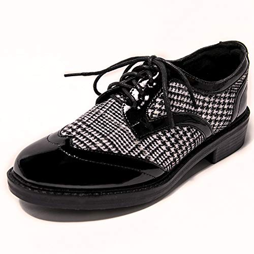 FLYRCX retro ladies lattice 38 shoes shoes fashion shoes Patent shoes outdoor casual strap EU leather work XxqwrgX