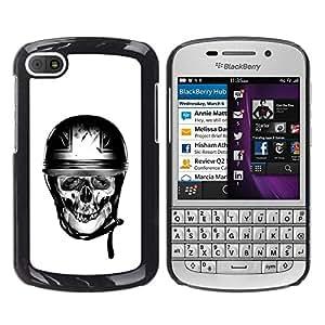 """For BlackBerry Q10 Case , Motorista de la motocicleta Casco Bretaña"""" - Diseño Patrón Teléfono Caso Cubierta Case Bumper Duro Protección Case Cover Funda"""