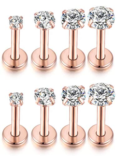 Labret Prong - Kokoma 4Pairs 16G Rose Gold Cartilage Stud Earrings 316L Stainless Steel Tragus Labret Lip Nose CZ Piercing Barbell Ring