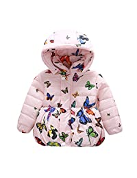 Forart Baby Girls Winter Warm Coat Butterfly Pattern Hoodie Down Jacket Outwear