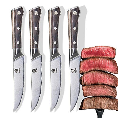 BOKASHI STEEL Set of 4 Serrated Steak Knives - KASAI Series - Vacuum Treated - 5